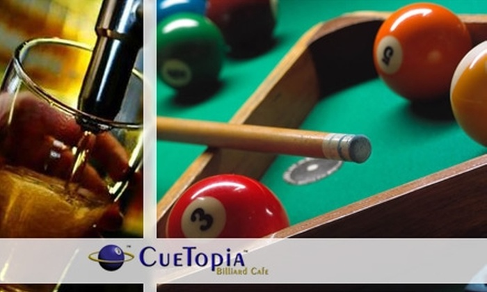 CueTopia Billiard Cafe - Erikson: $15 for Two Hours of Pool Plus $15 Worth of Bar Eats and Brews at CueTopia Billiard Cafe ($30 Value)