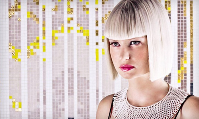 L.A. Gallery Hair & Make-Up Studio - Harbour Island,Palma Ceia: Haircut Package with Therapeutic Scalp Treatment or Full Color or Partial Highlights at L.A. Gallery Hair & Make-Up Studio (Up to 64% Off)