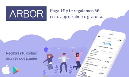 Paga 1 € en Groupon y obtén 5 € de regalo en tu app de ahorro Arbor