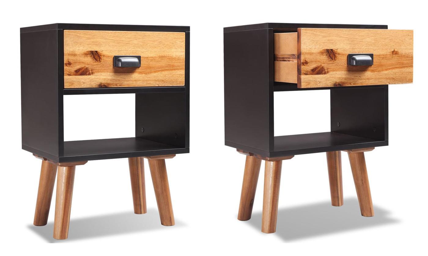 vidaxl acacia bedside cabinets