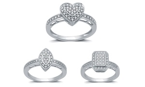 1/10 CTTW Diamond Novelty Promise Rings in Sterling Silver by DeCarat