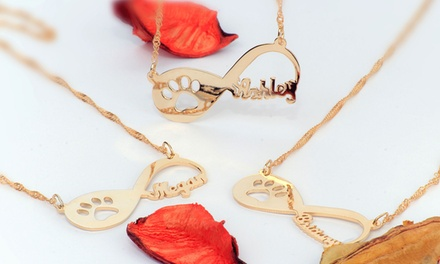 Personalized Infinity Paw Necklace