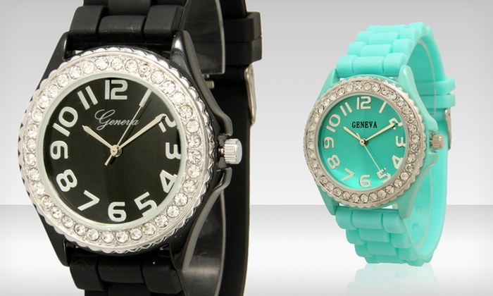Geneva Crystal-Embellished Silicone Watches: $4.99 for Geneva Crystal-Embellished Silicone Watches ($19.99 List Price). Multiple Colors Available. Free Returns.