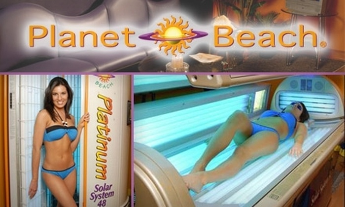 Planet Beach Tanning Salon - Simpsonville: $39 for One Month of Unlimited UV Tanning or Three UV-Free Spray Tans from Planet Beach Tanning Salon (Up to $89 Value)