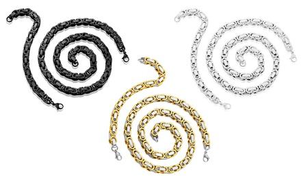 Men's Byzantine Stainless Steel Necklace and Bracelet Set (2-Piece)