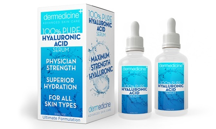 Dermedicine 100% Pure Hyaluronic Acid Serum (1- or 2-Pack)