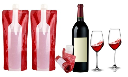Reusable and Foldable Wine Flasks: Two ($9.95), Four ($15) or Eight ($25)