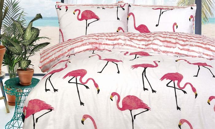 Pieridae Flamingo Reversible Duvet Cover Set from £8