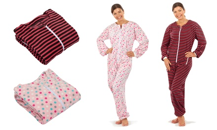 Women's Patterned Fleece Onesie