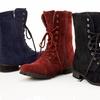 $31.99 for Carrini Velvet Combat Boots