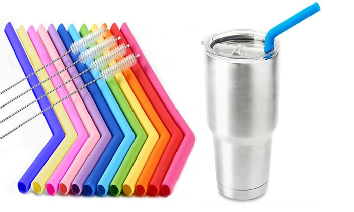 Silicone Reusable Drinking Straws with Cleaning Brush (10- or 20-Piece)