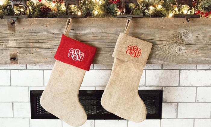 Up to 84% Off Personalized Christmas Burlap Stockings
