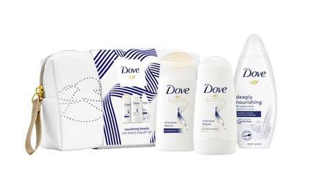 Hasta 4 sets de regalo para ducha Dove con shampoo, acondicionador y gel de ducha