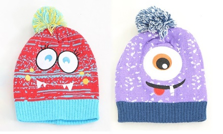 One or Two Children's Monster Beanie Bobble Hats
