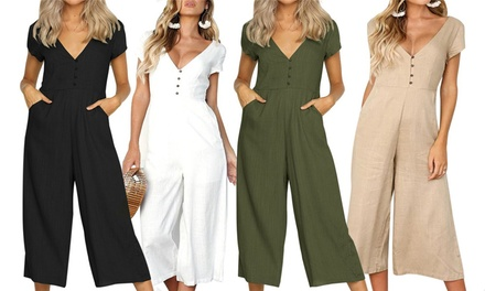 Women's Short-Sleeved Button Front Jumpsuit: One ($19) or Two ($29)