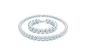 Solid Sterling Silver Bead Necklace and Bracelet Set at Solid Sterling Silver Bead Necklace and Bracelet Set, plus 6.0% Cash Back from Ebates.