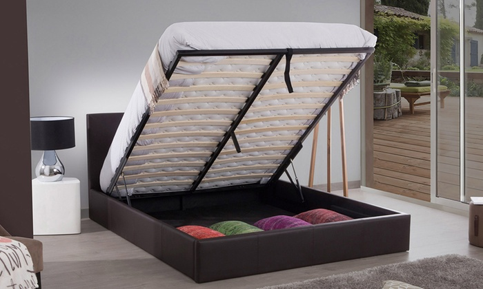 lit coffre led simili cuir avec ou sans matelas groupon. Black Bedroom Furniture Sets. Home Design Ideas