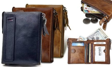 1 o 2 carteras de cuero con sistema RFID
