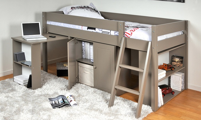lit combin avec bureau tag re groupon. Black Bedroom Furniture Sets. Home Design Ideas