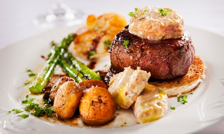 Steakhouse Dinner with Wine for Two or Four at Upstairs at the Woodlands (Up to 49% Off)