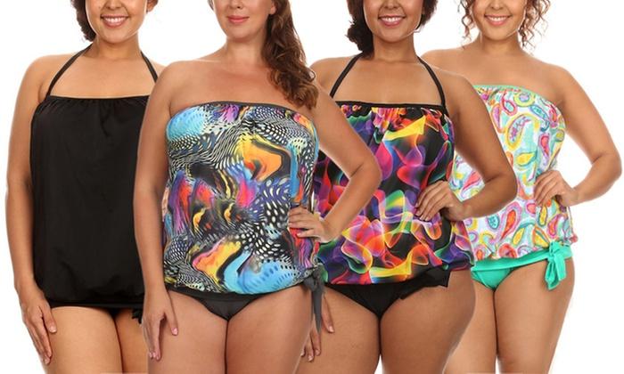 3036c99c9f Women's Plus-Size Bandeau Blouson Tie Tankini Swimsuit | Groupon