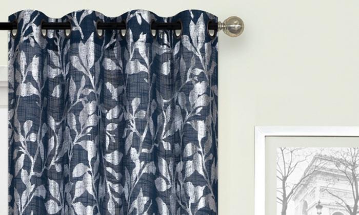 metallic leaf print 100 x84 grommet window curtain panel pair groupon groupon