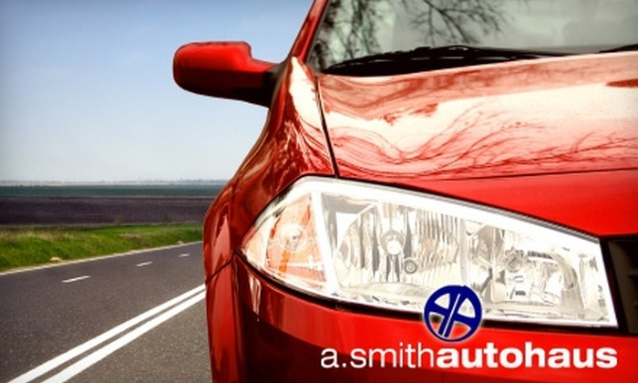 A. Smith Autohaus - Regina: $44 for $89 Worth of Auto Paint Chip or Scratch Repair, or $20 for an Exterior Auto Detail ($49.50 Value) at A. Smith Autohaus