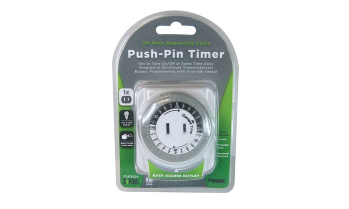 Prime Wire Push-Pin Timer with 24-Hour Cycle and Pass-Thru Outlet