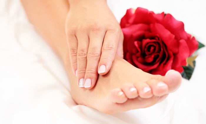 Save 70% on Tea-Mint or Vanilla-Lemongrass Mani-Pedi Package with Scrub and Serum at Divine Hair and Color Salon