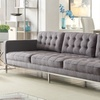 Draper Modern Linen Tufted Square Arm Sofa with Silvertone Legs