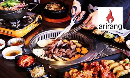 2Course Meal + Sides + Wine or Beer $69 or 4 People $135, Arirang Korean BBQ Restaurant Up to $213.80 Value