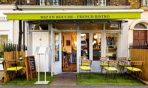 Miz en Bouche: Two-Course Meal with Champagne for One, Two or Four at Miz en Bouche, Angel (Up to 51% Off)