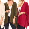 Isaac Liev Women's Loose-Fit Batwing Cardigan with Side Slits