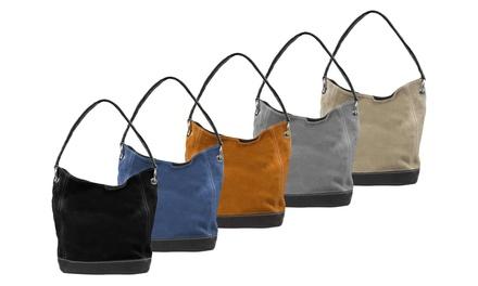 Handtasche aus Nubukleder mit Reißverschluss in der Farbe nach Wahl (Frankfurt)