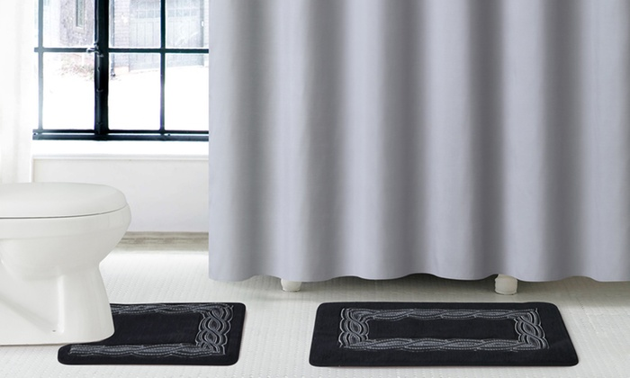 Luxury Bath Set with Shower Curtain and Rugs  15 Piece Gala Luxury Bath Set. Gala Luxury Bath Set with Shower Curtain and Rugs   Groupon