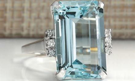 Aquamarine Crystal Princess Ring