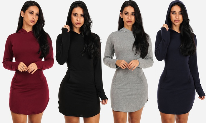 Juniors' Long-Sleeve French Terry Hoodie Dress with Front Pocket
