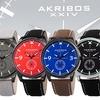 Men's Akribos XXIV AK938 Genuine Leather and Canvas Strap Watch
