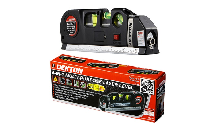 One or Two Dekton Six-in-One Laser Level and Tape Measures from £7