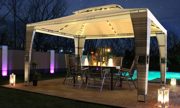 SwingHarmony Rattan-Effect Gazebo with LED Lights and Optional Side Walls (£309.98)