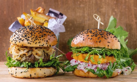 Classic or Vegetarian Burger with Chips for One, Two or Four at The Empire of Burger And Steak (Up to 48% Off)