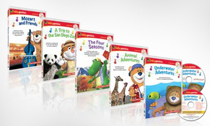 Baby Genius: $25 for Five Educational Children's DVDs, Plus Five Bonus CDs, from Baby Genius ($64.90 Value, Including Shipping). Ships in 7 to 10 days. May not arrive by 12/24.