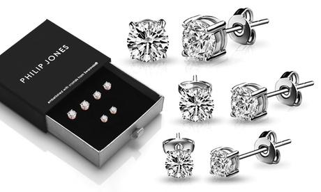 3 o 6 paia di orecchini Philip Jones con cristalli Swarovski® disponibili in vari colori e dimensioni