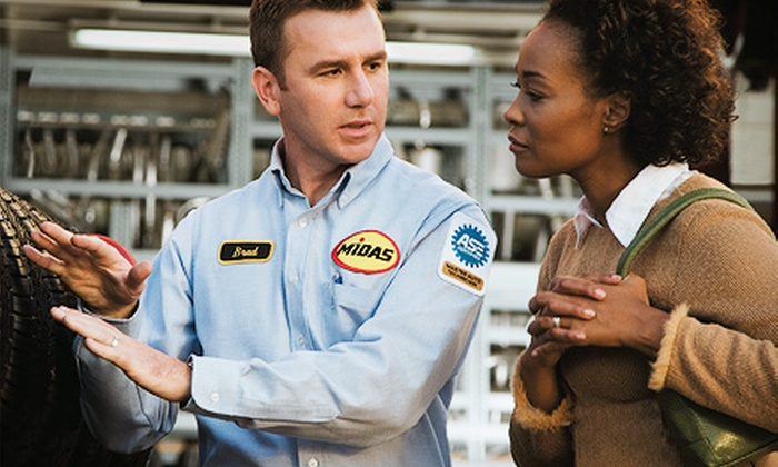 Midas - Multiple Locations: Regular or Synthetic-Oil Changes with Tire Rotations and 27-Point Inspections at Midas (Up to 66% Off). Three Options Available.