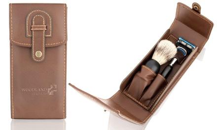 Woodland Leather Herren-Rasierset mit Rasierer, Pinsel und Hülle