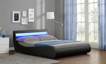 Lit LED design en simili cuir avec matelas en option