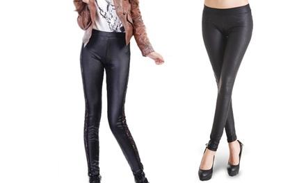 Leggings effet cuir pour femme, 2 modèles au choix à 7,90  €