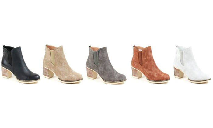 Mata Women's Vegan-Suede Burnished Ankle Booties