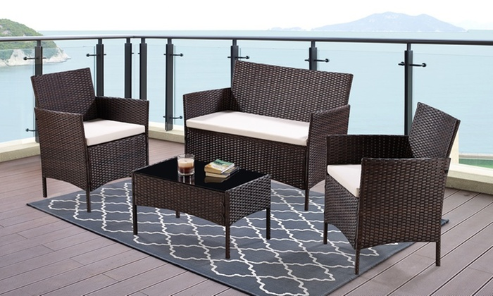four piece rattan effect garden furniture set with. Black Bedroom Furniture Sets. Home Design Ideas