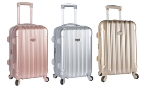 """Kensie 20"""" Hard-Sided Expandable Metallic Carry-On Luggage"""